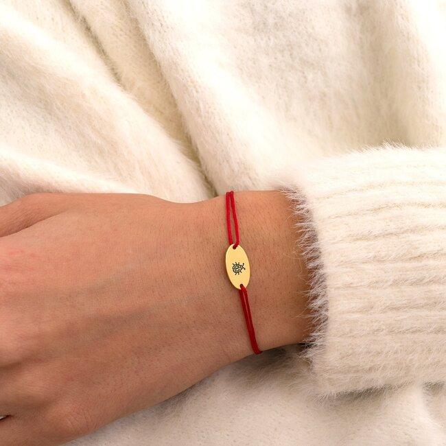 Bratara martisor cu snur rosu oval argint placat cu aur cu mesaje de primavara (minim 5 buc)