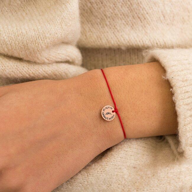 Bratara martisor cu snur rosu pandantiv banut argint placat cu aur roz 18K cu mesaje de primavara (10 mm) (minim 5 buc)