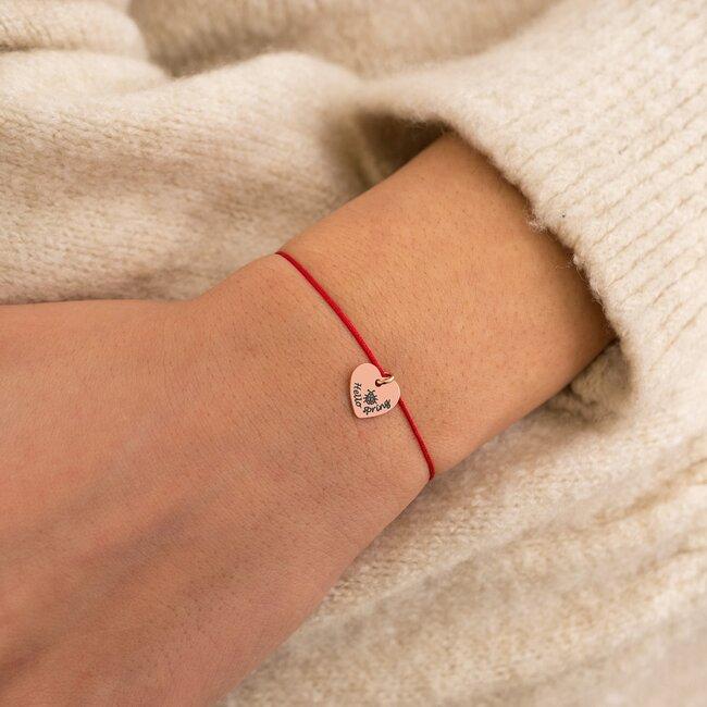 Bratara martisor cu snur rosu pandantiv inima cu mesaje de primavara (11 mm) (minim 5 buc)