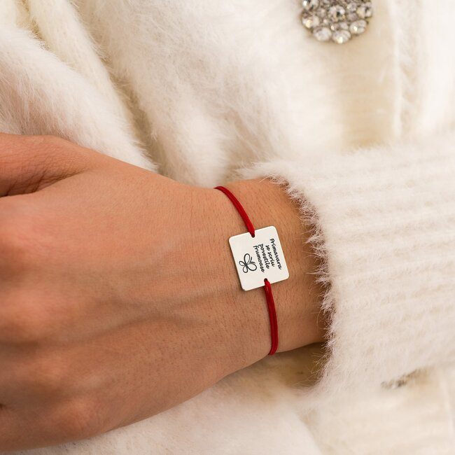 Bratara martisor cu snur rosu patrat argint cu mesaje de primavara (16,5 mm) (min 3 buc)