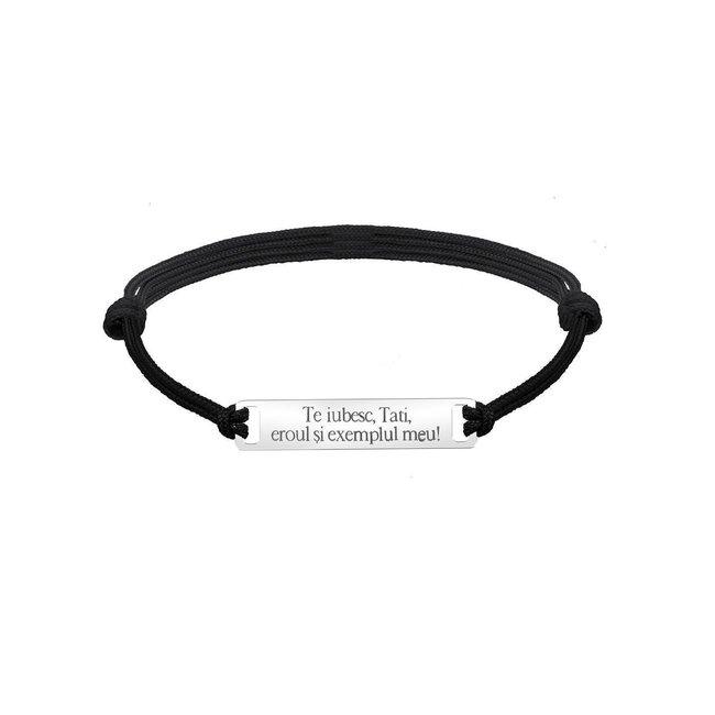 Bratara barbateasca snur gros placuta 35 mm personalizata gravura text Argint 925 Premium