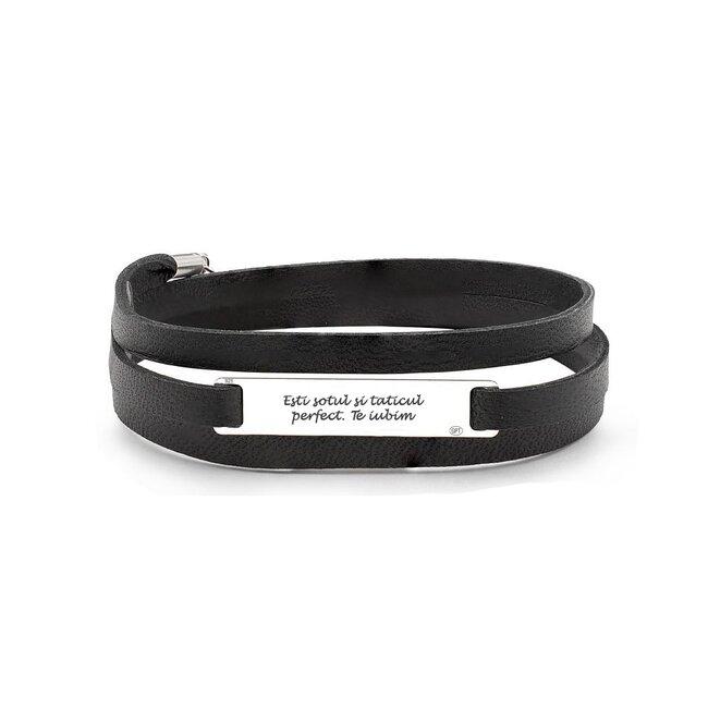 Bratara unisex piele multistrat, placuta 35 mm personalizata gravura text Argint 925 Premium (3 straturi)