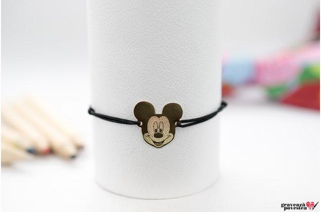 Bratara snur bebe Mickey/ Minnie 16 mm personalizata gravura text Aur 14K