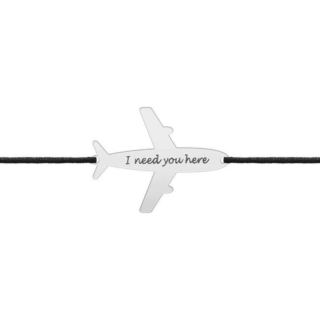 Bratara snur avion 21 mm personalizata gravura text Argint placat cu aur galben 24K