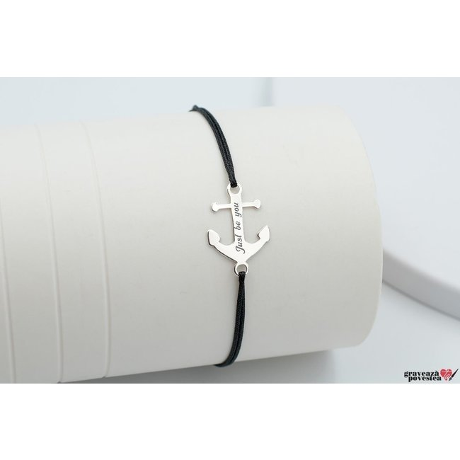 Bratara snur ancora 20 mm personalizata gravura text Argint 925 rodiat