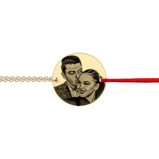 Bratara mix snur si lant Argint 925 banut personalizat foto (17 mm)