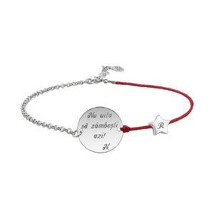 Bratara mix snur si lant steluta 5 mm si banut 14,5 mm personalizat gravura text Argint 925 Premium