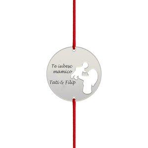 Bratara snur banut mama si copil decupati 19 mm personalizat gravura text Argint 925