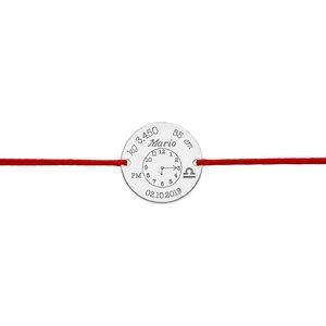 Bratara snur ceasul bebelusului banut 17 mm personalizat gravura foto Argint 925 Premium