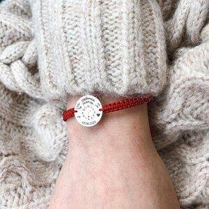 Bratara snur ceasul bebelusului banut 17 mm personalizat gravura cu poza Argint 925 Premium
