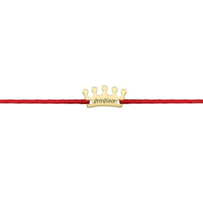 Bratara snur coroana 13 mm personalizata gravura text Argint 925 rodiat