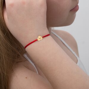 Bratara aur copii, snur si inima 10 mm, personalizata (Aur alb 14K)