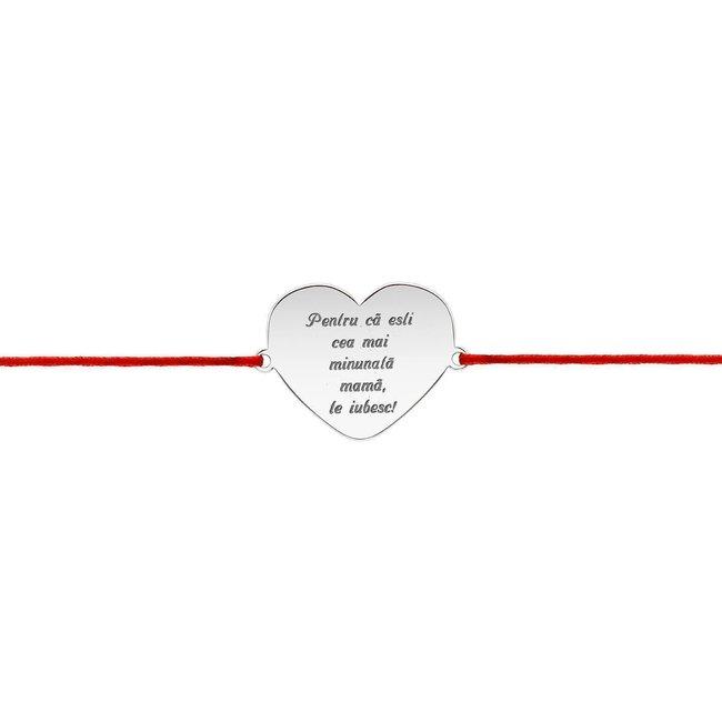 Bratara snur inima anouri 20 mm personalizata gravura text Argint 925 Premium