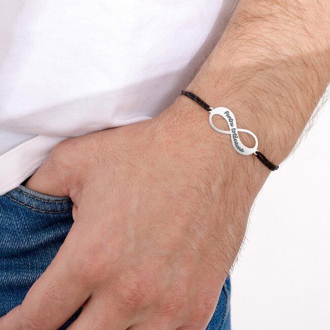 Bratara barbateasca snur gros infinit 30 mm personalizat gravura text Argint 925 Premium