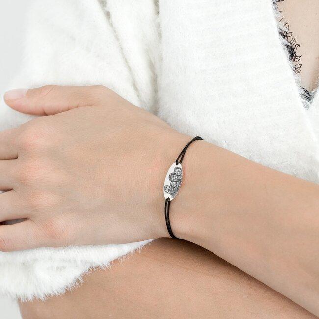 Bratara snur oval 22 mm personalizat gravura foto Argint 925 rodiat