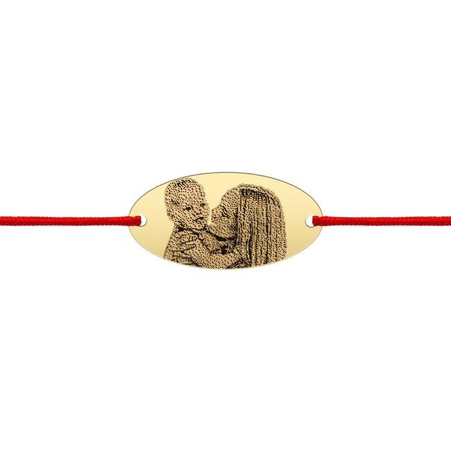 Bratara snur oval 22 mm personalizat gravura foto Argint 925 Premium