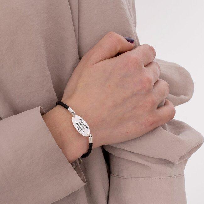 Bratara unisex piele oval 22 mm personalizat gravura foto Argint 925 Premium (piele 3 mm)