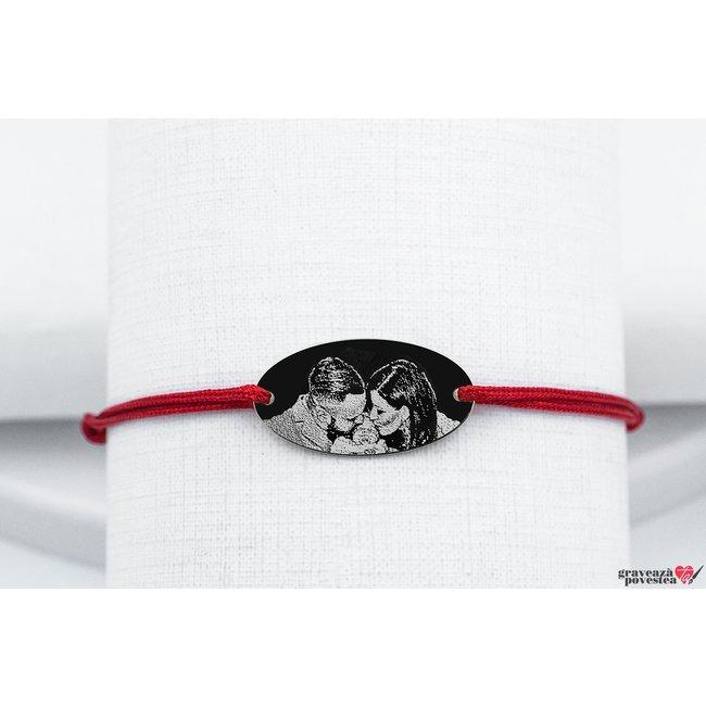 Bratara snur oval 22 mm personalizat gravura foto Aur 14K