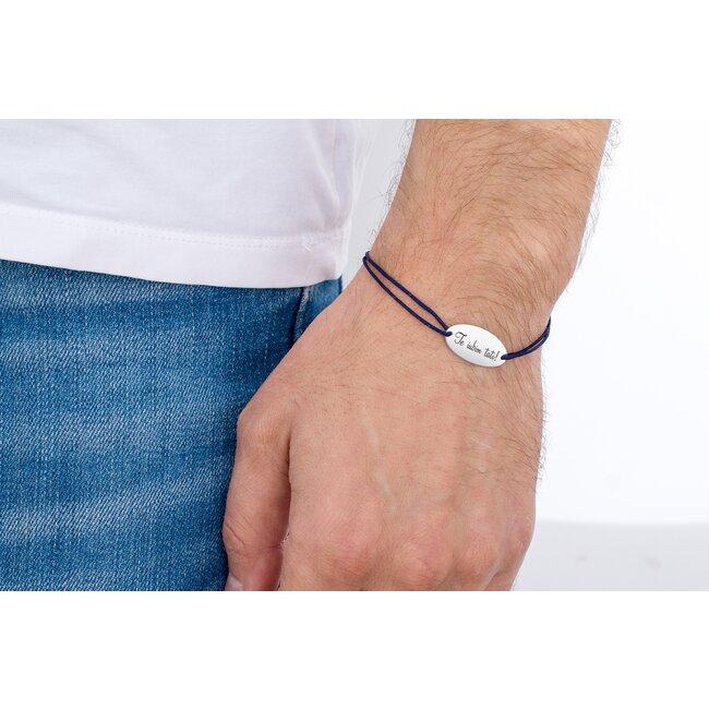Bratara snur oval 22 mm personalizat gravura text Argint 925 rodiat