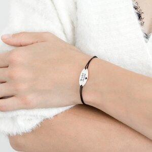 Bratara snur oval 22 mm personalizat gravura text Argint 925 Premium