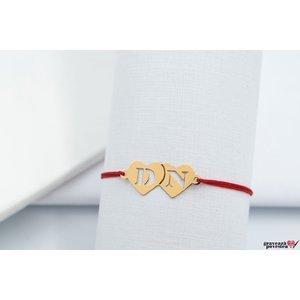 Bratara snur doua inimi 22 mm cu initiale decupate Aur 14K
