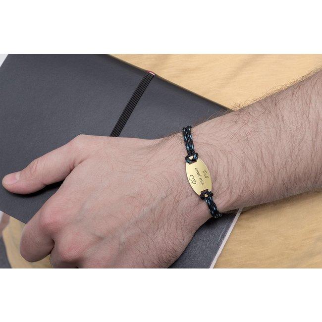 Bratara barbateasca snur paracord oval 28 mm personalizat gravura text Argint 925 rodiat