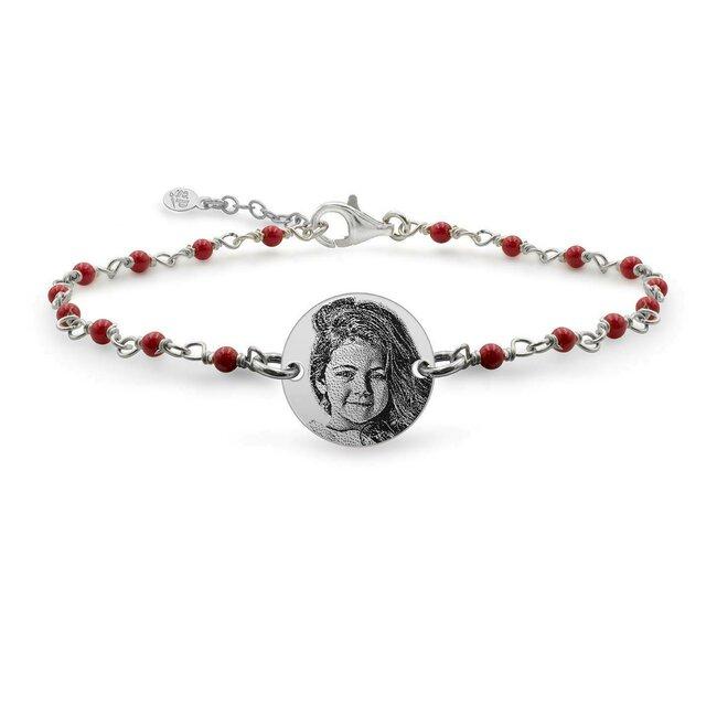 Bratara pentru fetite lant tip rozariu banut 12 mm personalizat gravura foto Argint 925 rodiat (6-14 ani & lantisor tip rozariu alb/ albastru deschis/ rosu)