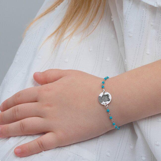 Bratara pentru fetite lant tip rozariu banut 12 mm personalizat gravura foto Argint 925 Premium (6-14 ani & lantisor tip rozariu alb/ albastru deschis/ rosu)