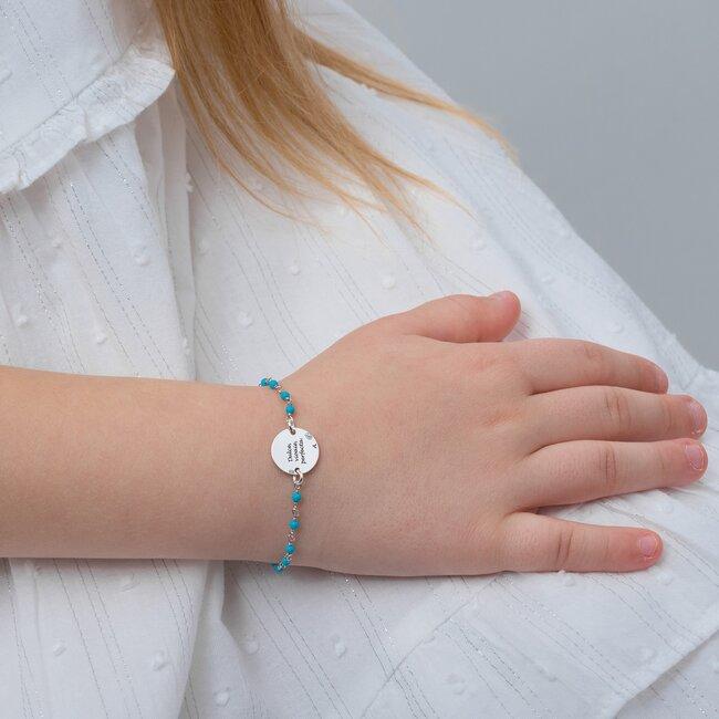 Bratara pentru fetite lant tip rozariu banut 12 mm personalizat gravura text Argint 925 Premium (6-14 ani & lantisor tip rozariu alb/ albastru deschis/ rosu)
