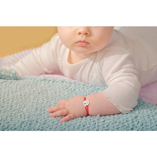 Bratara snur pentru bebe banut 10 mm personalizat gravura text Aur 14K