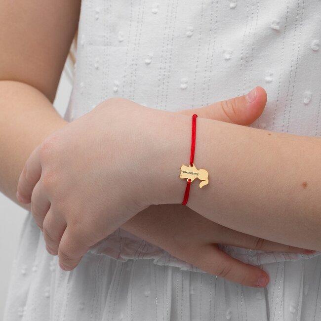 Bratara Aur 14K cu snur pentru fetite si adolescente fetita 14 mm personalizata gravura text