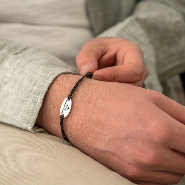 Bratara snur gros unisex oval 22 mm personalizat gravura text Argint 925 Premium