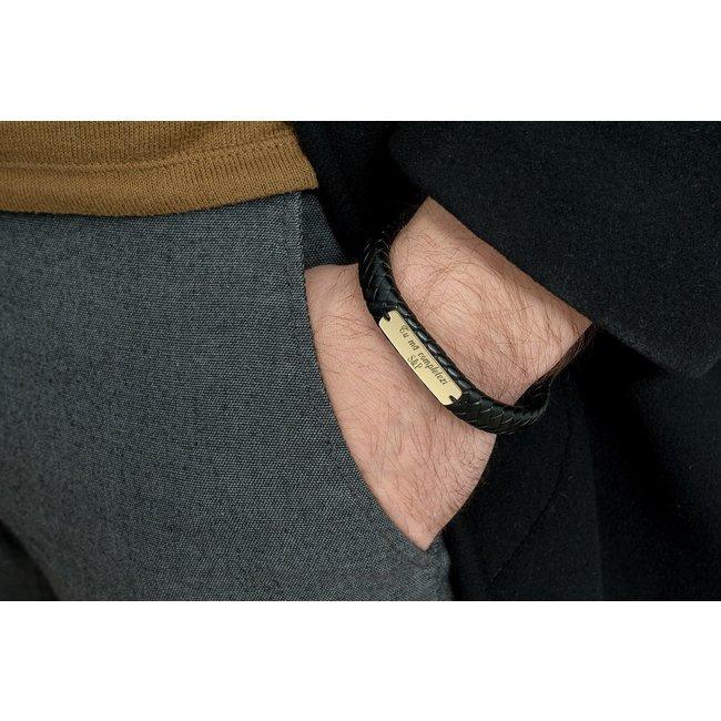 Bratara barbateasca piele lata impletita placuta 33 mm personalizata gravura text Aur 14K (inchizatoare magnetica inox negru)