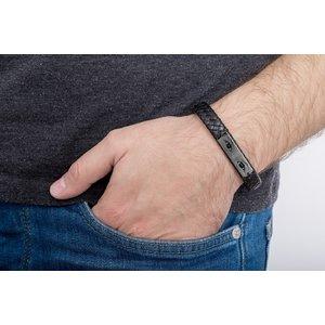 Bratara piele lata impletita placuta 36 mm personalizata gravura foto Argint 925 Premium (inchizatoare magnetica inox)