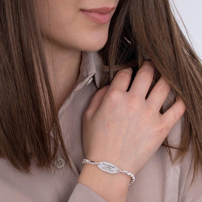 Bratara piele oval 22 mm personalizat gravura text Argint 925 rodiat (piele 3 mm si inchizatoare inox)