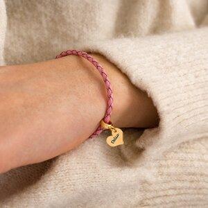 Bratara piele roz si inima argint pentru adolescente (12 mm)