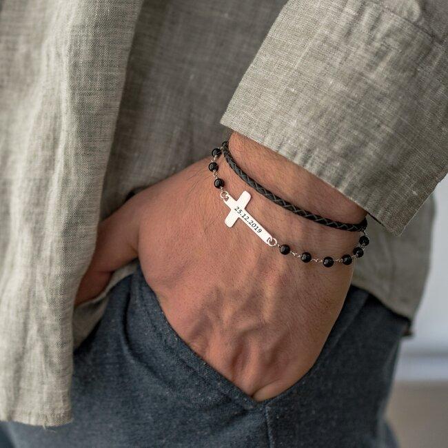 Bratara barbateasca piele & rozariu cruce 28 mm personalizata gravura text Argint 925 Premium