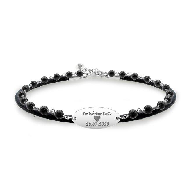 Bratara barbateasca piele & rozariu oval 22 mm personalizat gravura text Argint 925 Premium