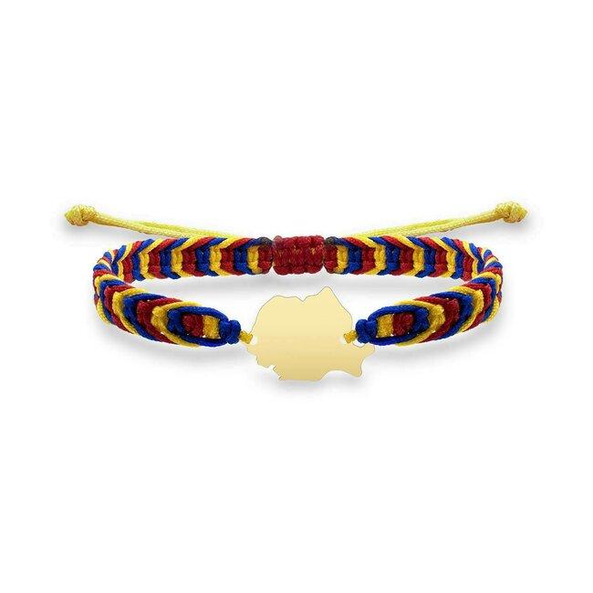 Bratara suvenir Romania mea snur tricolor Argint 925 rodiat
