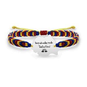Bratara suvenir Romania mea snur tricolor personalizata gravura text Argint 925 Premium