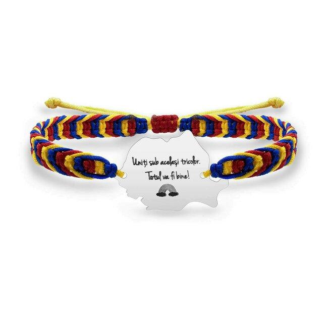Bratara suvenir Romania mea snur tricolor personalizata gravura text Argint 925 rodiat
