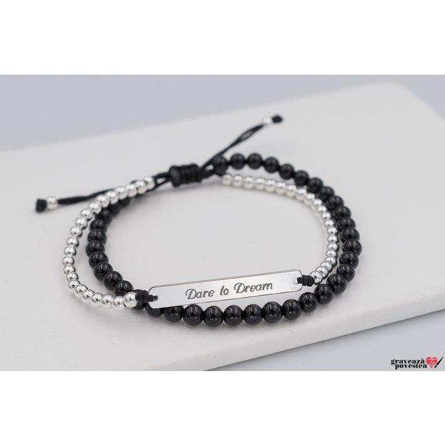 Bratara snur onix si bilute placuta 31 mm personalizata gravura text Argint 925 Premium