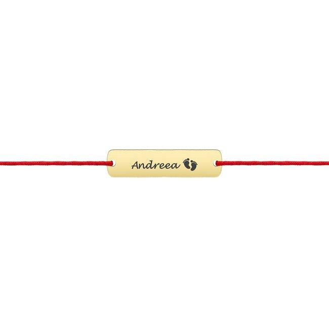 Bratara aur copii, snur si placuta 18 mm, personalizata