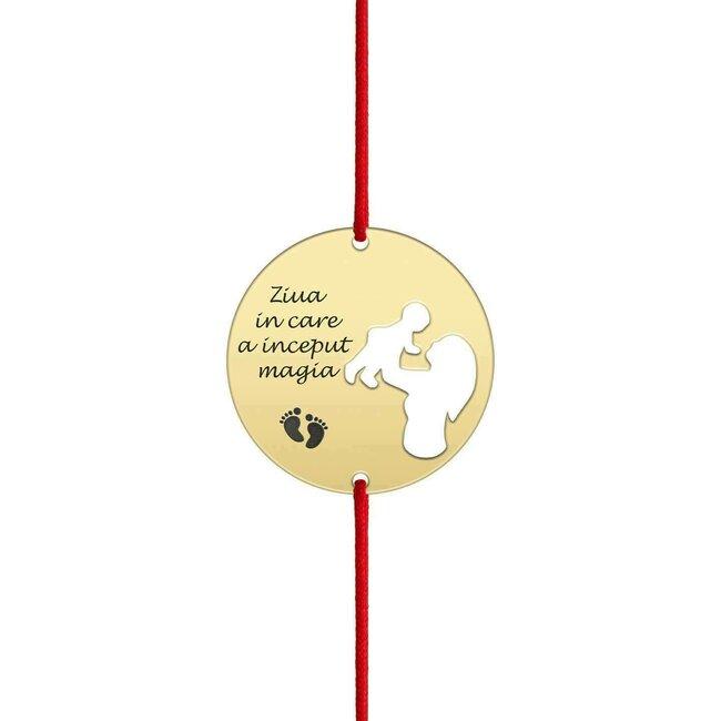 Bratara snur banut mama si copil decupati personalizata gravura text Argint 925 placat cu aur galben 24K (19 mm)