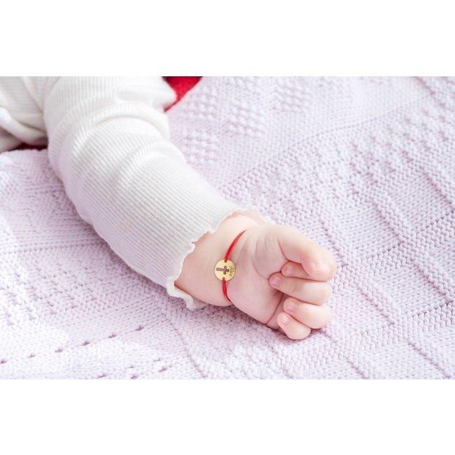 Bratara snur bebe si copil banut cruce 10 mm personalizat gravura text Aur 14K