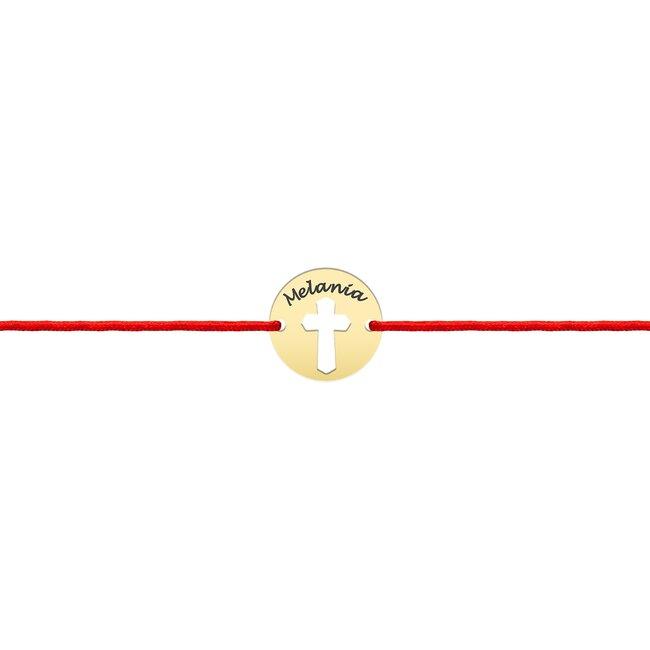 Bratara Aur 14K cu snur rosu banut cruce (10 mm)
