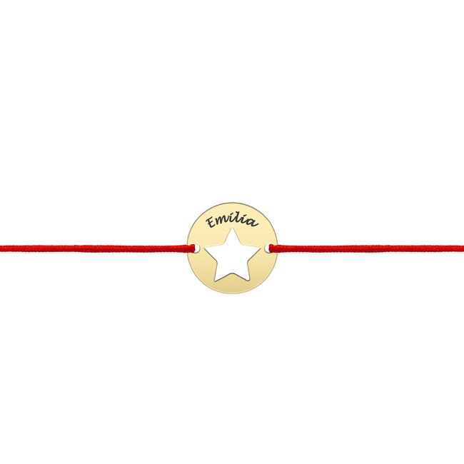 Bratara Aur 14K cu snur rosu banut stea (10 mm)