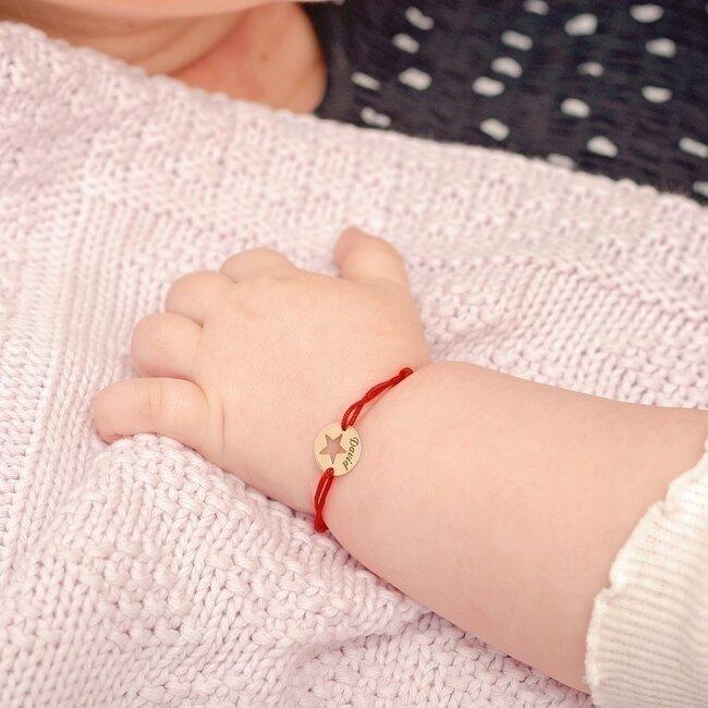 Bratara martisor Aur 14K cu snur rosu banut stea (10 mm)