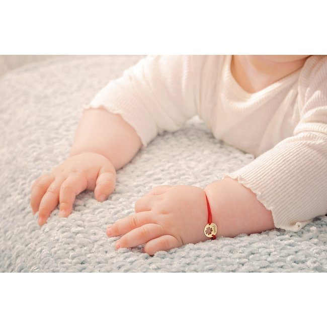 Bratara snur bebe si copil banut trifoi 10 mm personalizat gravura text Aur 14K