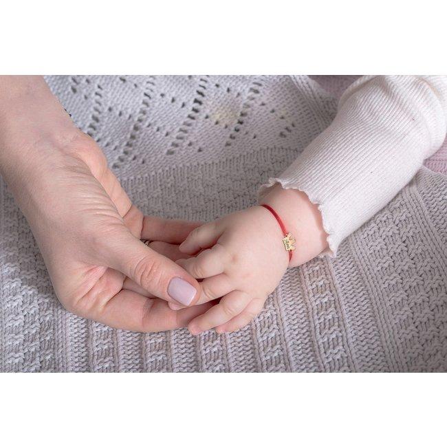 Bratara snur bebe si copil coronita anouri 10 mm personalizata gravura text Aur 14K